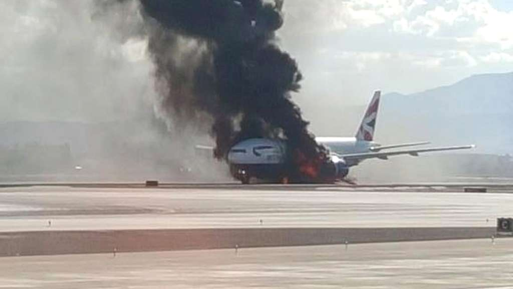 British-Airways-Jet fängt vor Start Feuer - Video